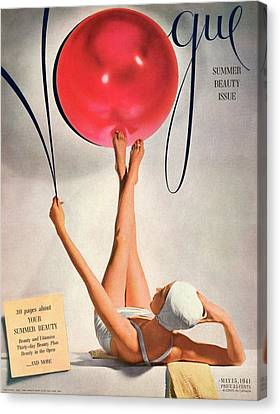 Vogue Cover Illustration Of A Woman Balancing Canvas Print by Horst P. Horst