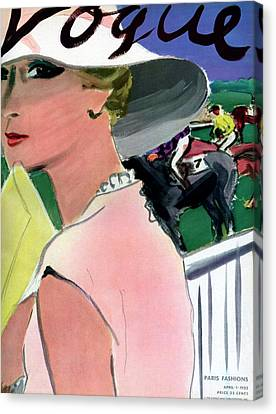 1933 Canvas Print - Vogue Cover Illustration Of A Woman by Carl Oscar August Erickson