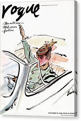 Vogue Cover Illustration Of A Woman Driving A Car Canvas Print