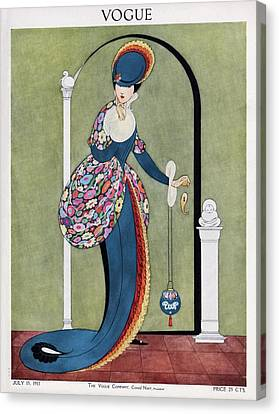Chin On Hand Canvas Print - Vogue Cover Illustration Of A Woman In A Blue by George Wolfe Plank