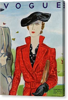 Clutch Bag Canvas Print - Vogue Cover Illustration Of A Woman In A Red Coat by Eduardo Garcia Benito