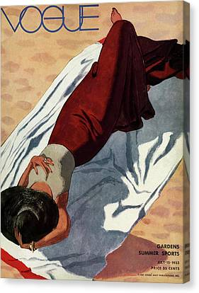 1933 Canvas Print - Vogue Cover Illustration Of A Woman Lying by Pierre Mourgue