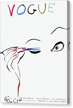 Nail Canvas Print - Vogue Cover Illustration Of A Woman Putting by Carl Oscar August Erickson