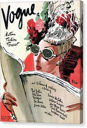 Earrings Canvas Print - Vogue Cover Illustration Of A Woman Reading by Rene Bouet-Willaumez