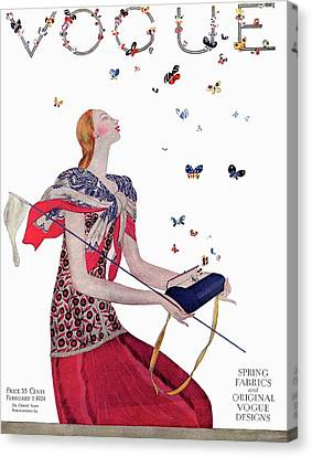 Pink Lipstick Canvas Print - Vogue Cover Illustration Of A Woman Releasing by Eduardo Garcia Benito