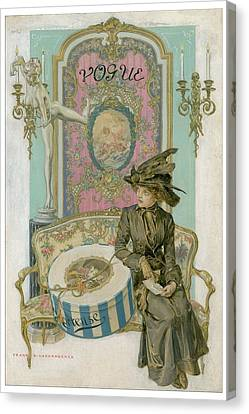 Vogue Cover Illustration Of A Woman Sitting Canvas Print