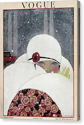 Vogue Cover Illustration Of A Woman Wearing A Fur Canvas Print by Georges Lepape