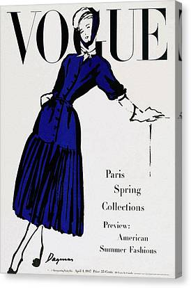 Glove Canvas Print - Vogue Cover Illustration Of A Woman Wearing Blue by Dagmar