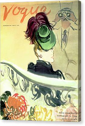 Vogue Cover Illustration Of A Woman Wearing Canvas Print by Carl Oscar August Erickson