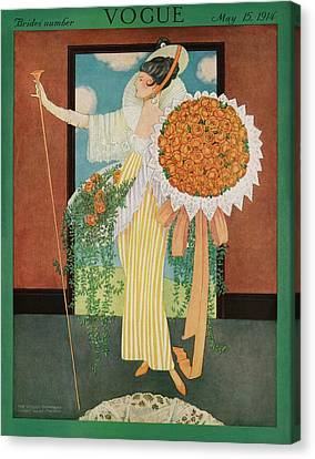 Wedding Bouquet Canvas Print - Vogue Cover Illustration Of A Woman Wearing by George Wolfe Plank