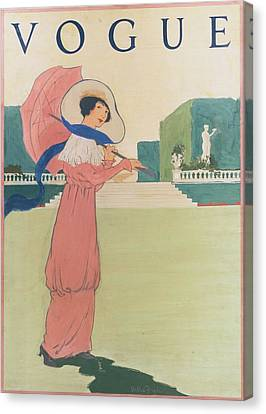 Vogue Cover Illustration Of A Woman Wearing Canvas Print by Helen Dryden