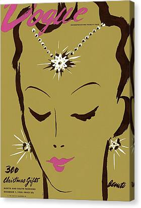 Pink Lipstick Canvas Print - Vogue Cover Illustration Of A Woman Wearing Star by Eduardo Garcia Benito