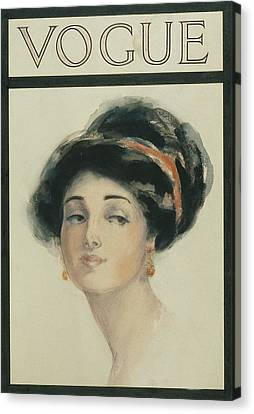 Black Tie Canvas Print - Vogue Cover Illustration Of A Woman With Black by Helen Dryden