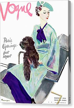 Vogue Cover Illustration Of A Woman With Dog Canvas Print by Pierre Mourgue