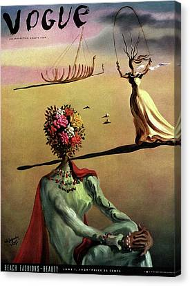 Magazine Art Canvas Print - Vogue Cover Illustration Of A Woman With Flowers by Salvador Dali