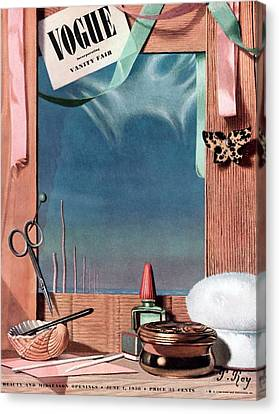 Vogue Cover Illustration Of Cosmetics In Front Canvas Print