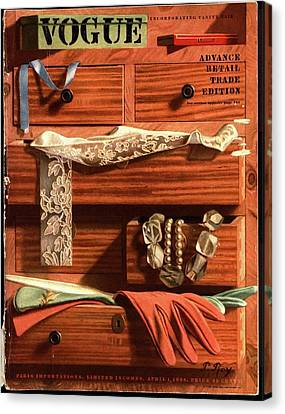 Wood Necklace Canvas Print - Vogue Cover Illustration Of Drawers Open by Pierre Roy