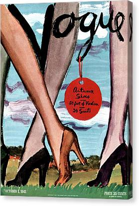 1941 Canvas Print - Vogue Cover Illustration Of Female Legs Wearing by Carl Oscar August Erickson