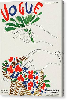 Vogue Cover Illustration Of Hands Holding Canvas Print
