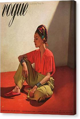 Moroccan Canvas Print - Vogue Cover Illustration Of Model Helen Bennett by Horst P. Horst