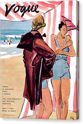 Vogue Cover Illustration Of Two Women At Beach Canvas Print by Carl Oscar August Erickson