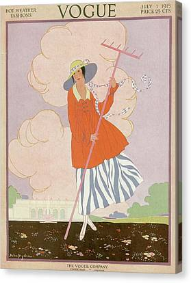 Windswept Canvas Print - Vogue Cover Illustration Of Woman Holding Rake by Helen Dryden