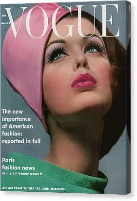 Pink Lipstick Canvas Print - Vogue Cover Of Dorothy Mcgowan by Bert Stern