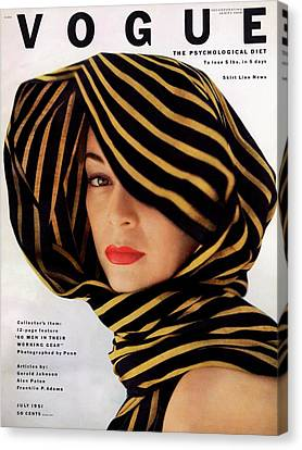 Vogue Cover Of Jean Patchett Canvas Print by Clifford Coffin