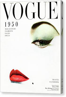 Vogue Cover Of Jean Patchett Canvas Print by Erwin Blumenfeld