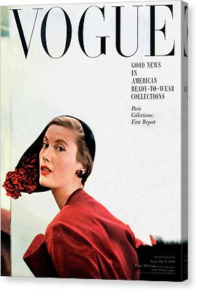 Vogue Cover Of Mary Jane Russell Canvas Print by Frances Mclaughlin-Gill
