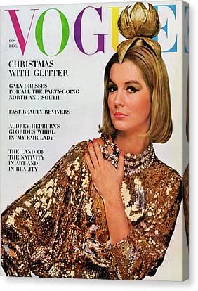 Hair Cuts Canvas Print - Vogue Cover Of Sandra Paul by Bert Stern