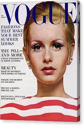 Vogue Cover Of Twiggy Canvas Print by Bert Stern
