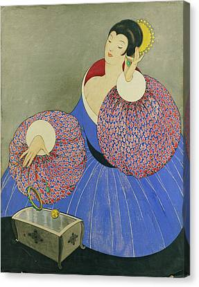 Vogue Drawing Of A Woman Taking Off Her Jewelry Canvas Print by George Wolfe Plank