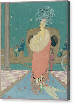 Vogue Illustration Of A Woman In A Pink Cape Canvas Print by Helen Dryden