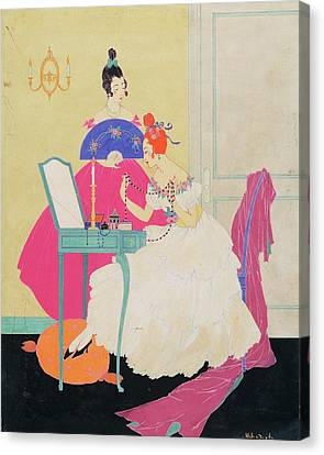 Black Tie Canvas Print - Vogue Illustration Of Two Women Around A Vanity by Helen Dryden