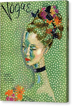 Magazine Art Canvas Print - Vogue Magazine Cover Featuring A Woman by Cecil Beaton