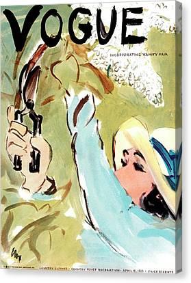 Vogue Magazine Cover Featuring A Woman Cutting Canvas Print by Carl Oscar August Erickson