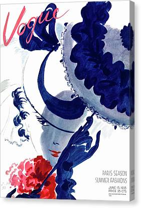 Magazine Art Canvas Print - Vogue Magazine Cover Featuring A Woman Holding by Jean Pages