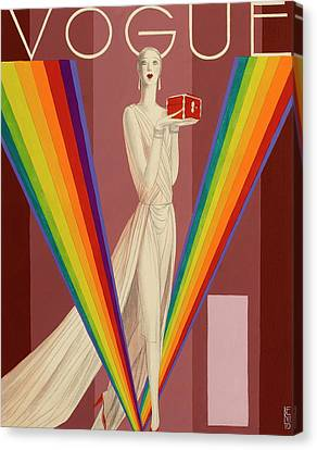 Multicolored Canvas Print - Vogue Magazine Cover Featuring A Woman In A Gown by Eduardo Garcia Benito