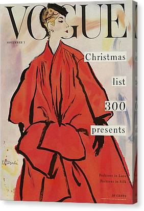 Magazine Art Canvas Print - Vogue Magazine Cover Featuring A Woman In A Large by Rene R. Bouche