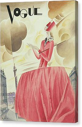 Vogue Magazine Cover Featuring A Woman In A Pink Canvas Print by William Bolin