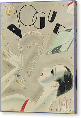 Vogue Magazine Cover Featuring A Woman Juggling Canvas Print by William Bolin