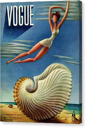 Stylized Canvas Print - Vogue Magazine Cover Featuring A Woman by Miguel Covarrubias