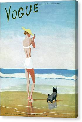 Magazine Art Canvas Print - Vogue Magazine Cover Featuring A Woman On A Beach by Eduardo Garcia Benito