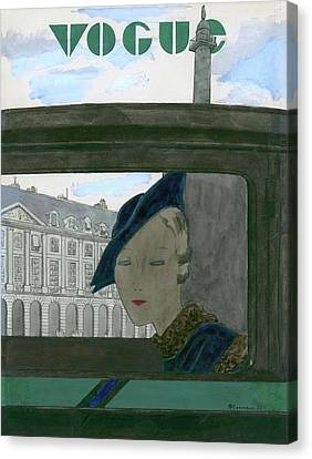 Vogue Magazine Cover Featuring A Woman Seen Canvas Print by Pierre Mourgue