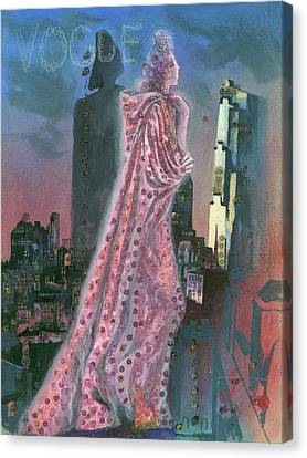 Vogue Magazine Cover Featuring A Woman Standing Canvas Print by Pavel Tchelitchew