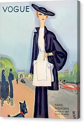Vogue Magazine Cover Featuring A Woman Walking Canvas Print by Eduardo Garcia Benito