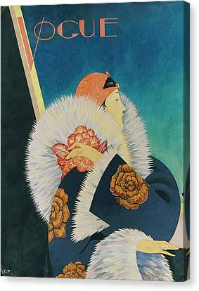 Vogue Magazine Cover Featuring A Woman Wearing Canvas Print by George Wolfe Plank