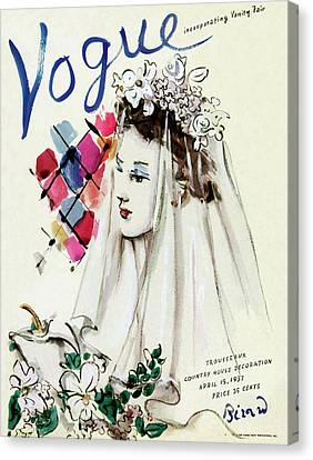 Wedding Dress Canvas Print - Vogue Magazine Cover Featuring An Illustration by Christian Berard