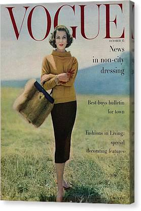 Vogue Magazine Cover Featuring Model Va Taylor Canvas Print by Karen Radkai